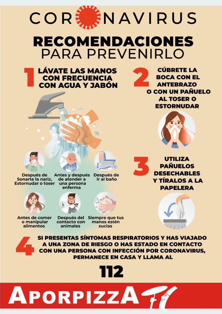 Aporpizza preparada para la prevención del Coronavirus cartel